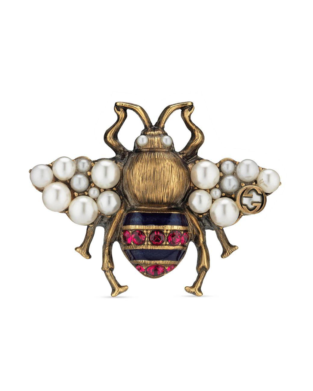 gucci-Acabado-dorado-envejecido-Anillo-de-Abeja-con-Cristales-y-Perlas-1